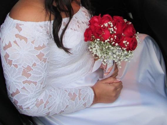 Vestido De Noiva N.44 Gg (usou Uma Vez)