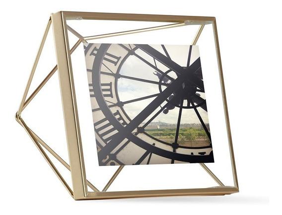 Porta Retrato Prisma 10x10 Cm Dourado Umbra Umbra