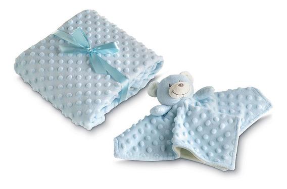Manta Dupla Face E Naninha Bebê Mini Urso 2 Pçs Azul Lepper