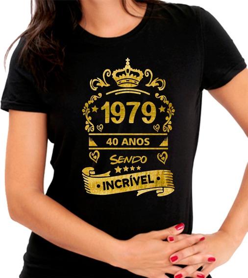 Camiseta Baby Look Preta 1979 40 Anos Sendo Incrível Dourada