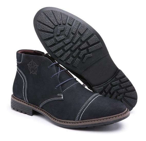 Sapato Coturno Casual Masculino Couro Cano Curto Estiloso Zt