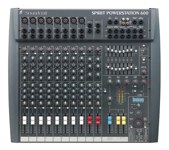 Mesa Som Amplificada Soundcraft Spirit Powerstation 600 Rms