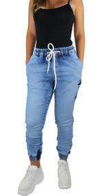 Kit 3 Calças Jogger Feminina Jeans Camuflada Punho Elastico