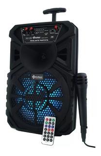 Parlante Portátil Bafle Bluetooth Carrito Usb Luces Micófono