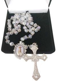 Terço De Noiva Prata Cristal Boreal Nossa Senhora De Fátima