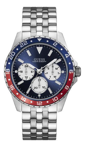 Relógio Guess Masculino Prata Azul/vermelho 92698gogsna2