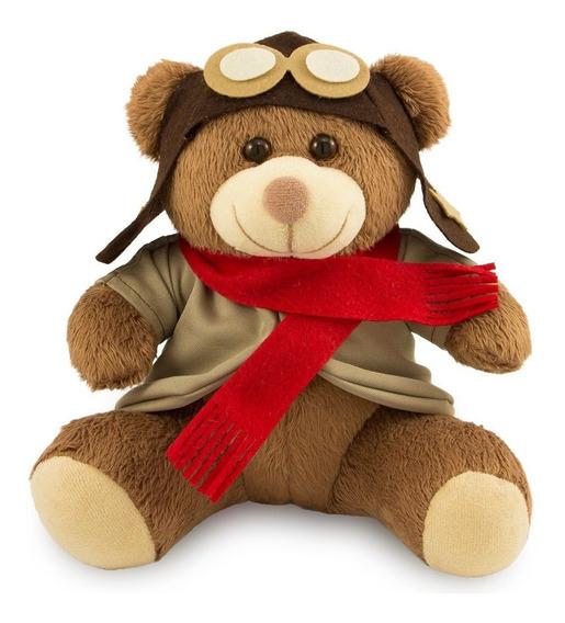 Ursinho De Pelúcia Aviador 20cm Decoração Anti-alérgico