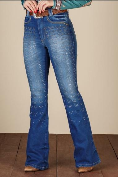 Calça Jeans Feminina Flare Minuty 19361 Aplicações De Pedras
