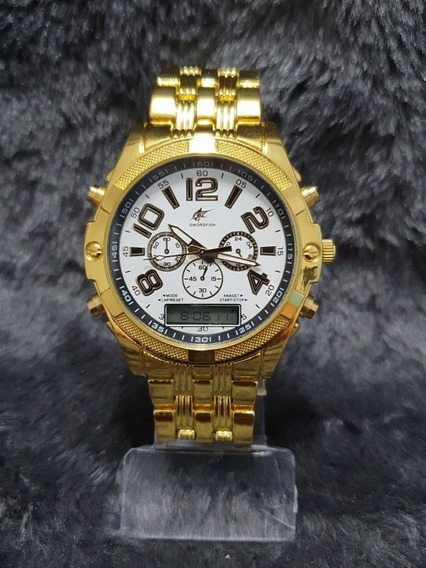Relógio Masculino Robusto Dourado Digital E Analógico Barato