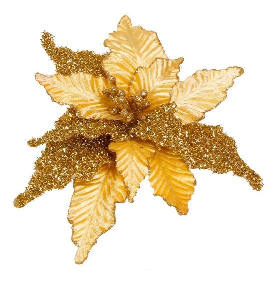 Poinsettia Hoja Canalada/escarchada 30cm Dorado