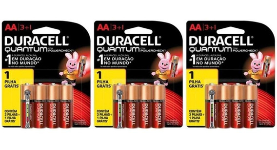 Kit Duracell Super Alcalina Aa Quantum L4 P3 C/ 12 Unidades