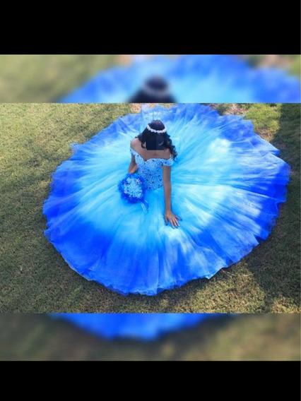 Vestido De Xv Años Azul Con Cristales Swarovski