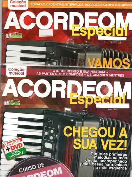 Curso De Acordeom V. 1, 2 Nível Iniciante, Médio Revista+dvd