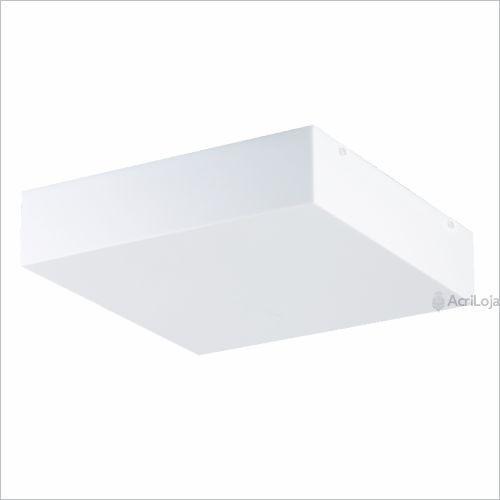 Plafon Acrílico 40x40 Sobrepor Quadrado Luminária 4 Lâmpadas