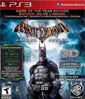 Batman Arkham Asylum Ps3 Blu Ray Fisico Usado.
