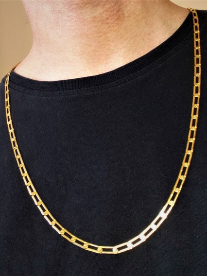 Corrente Masculina Elos Longos 70cm Banho De Ouro 18k 3518