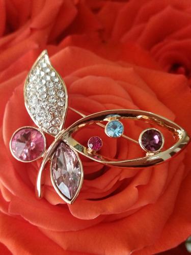 Broche Mariposa Mujer Hermosos Cristales
