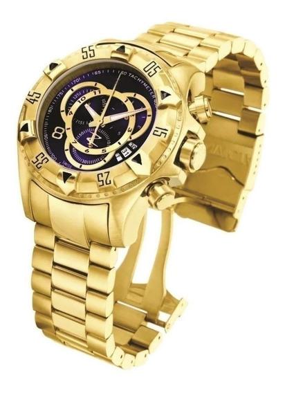 Relógio Masculino Grande Barato Prata/dourado Pesado Aço