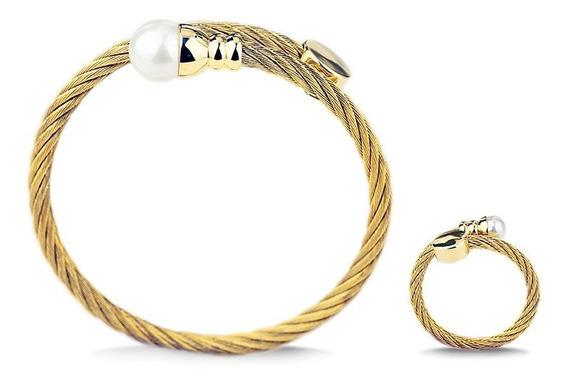 Ouro A03 Anel Pulseira De Aço Inoxidável Feminino Temperamen