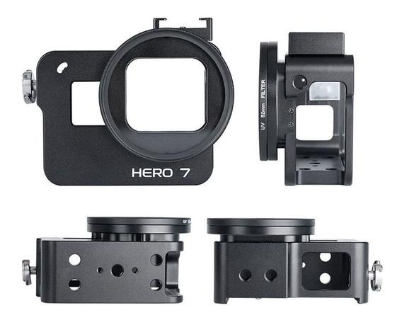Frame Em Alumínio + Lente Uv Gopro Hero 7 Black - Imp. Hero7