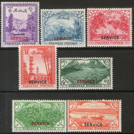 Pakistán Serie X 7 Sellos Uso En Impuestos, Sampám Año 1954