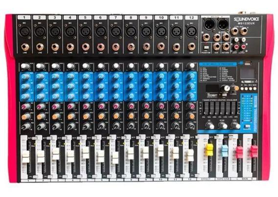 Mesa De Som Analógica Soundvoice 12 Canais Ms122 Eux Efeitos