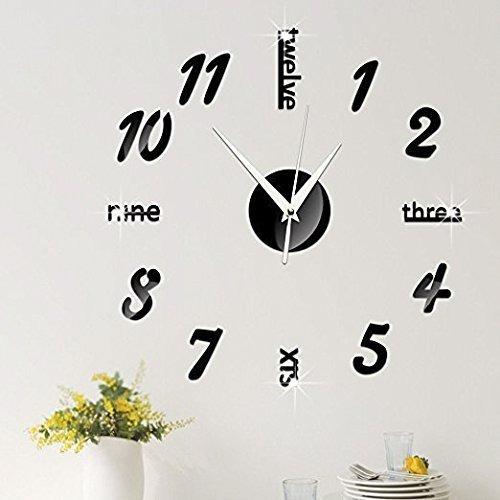 Superf Marco Reloj De Sin Moderno Espejo Pared Mute Xpxkj 3d cA54L3qRj