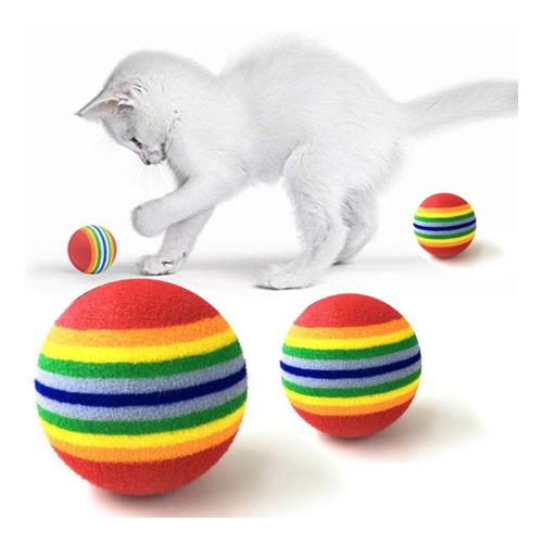 ¡ Juguete X4 Bolas Suaves D Colores Mascota Gato Pelota !!
