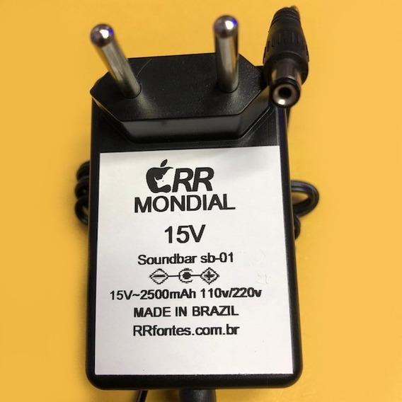 Fonte Carregador 15v P/ Sound Bar Mondial Sb-01 Sb01 Bivolt