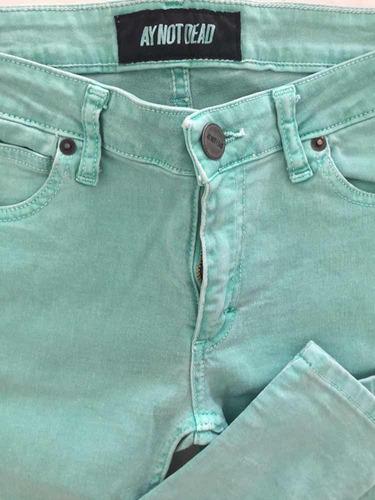 Vendo Pantalón Verde Agua Marca Aynotdead Talle 27 Hombre