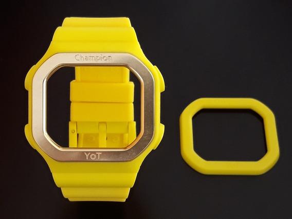 Pulseira Champion Yot Amarela + Aro Alumínio Dourado