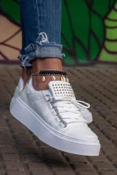 Zapatillas Lisas Ecocuero Con Pasadores Strass Plataforma