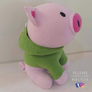 Hermoso Puerco Saurio (cerdo Con Buzo De Dinosaurio) 30 Cm