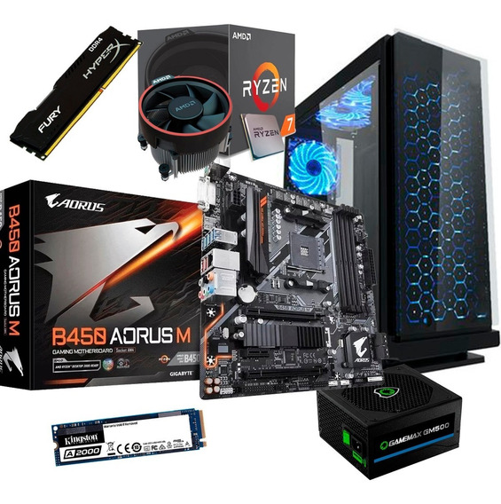 Computador Pc Ryzen 7 Hyperx 16gb 2666mhz Ssd M.2 Aoros450