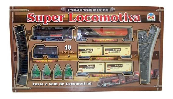Super Locomotiva Luz/ Som 40 Pçs Trenzinho Ferrorama Braskit