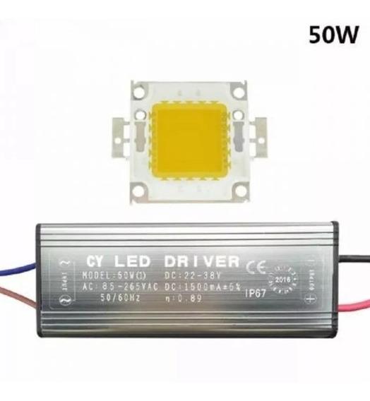 Kit Reparo Para Refletor Led 50w - Driver + Chip Led Pronto
