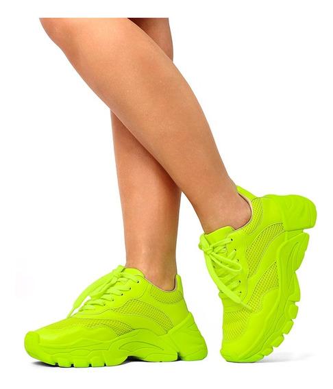 Tênis Chunky Sneakers Feminino Rosa Verde Neon Original Zatz Lançamento Damannu Shoes