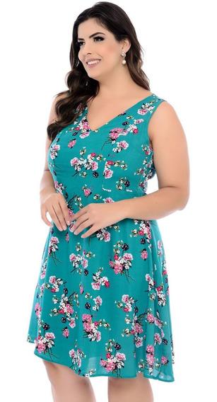 Vestido Plus Size Verde Estampa Floral