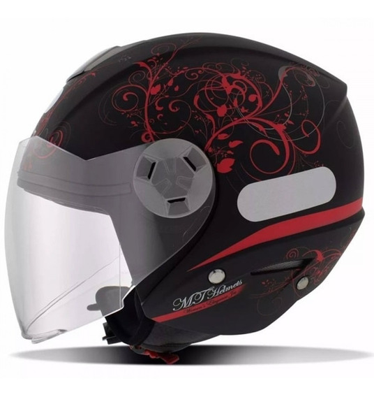 Capacete Moto Aberto Mt City Eleven Elegance Preto