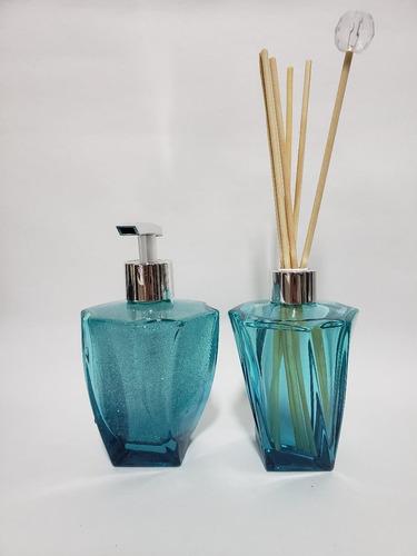 Imagem 1 de 7 de Kit Lavabo Frasco Elegancce Azul Tifane 210ml