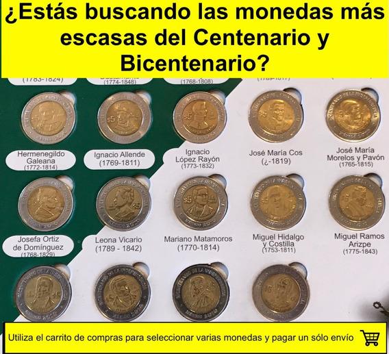 Moneda 5 Pesos, Centenario/bicentenario, Circuladas, Escasas