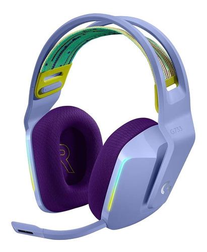 Imagen 1 de 3 de Auriculares gamer inalámbricos Logitech G Series G733 lila con luz  rgb