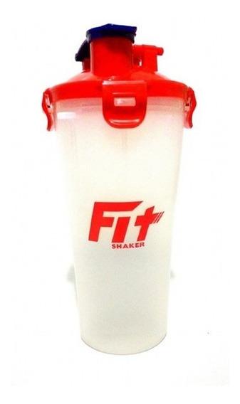 Garrafa Fit Shaker Dual Cup 350ml Transparente E Vermelho