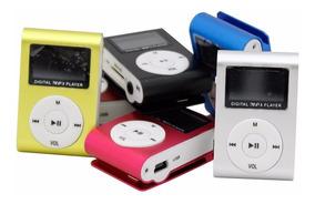 Mini Mp3 Player Slot Sd Lcd C/ Rádio Fm Metal + Fone + Cabo
