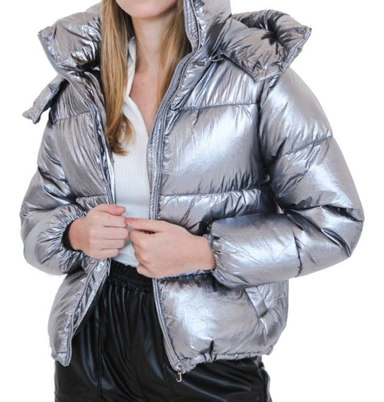 Campera Mujer Puffer Metalizada Impermeable Ultraliviana