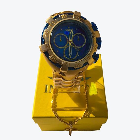 Kit Relógio Masculino + Corrente Com Pingente + Caixa