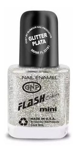 Imagen 1 de 4 de Esmalte Flash Colors De Gnp 9ml Glitter Plata