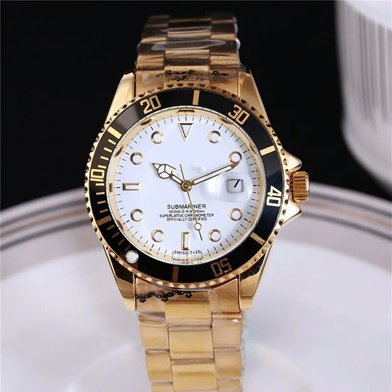 Relógios Masculinos E Femininos Folheado A Ouro 18k