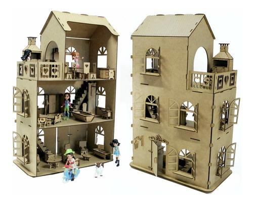 Casa Casinha Boneca + 28 Mini Móveis Mdf Crú B