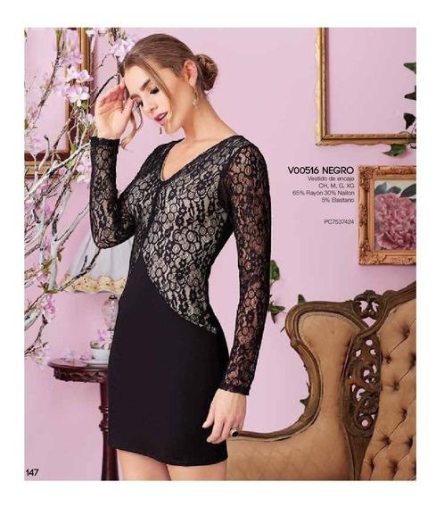 Ropa Mujer Vestido Formal Negro Encaje V18 8
